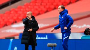Manchester City manager Pep Guardiola (left) and Chelsea manager Thomas Tuchel (right) on the touchline during the FA Cup semi-final at Wembley. Photo: Adam Davy/PA Wire