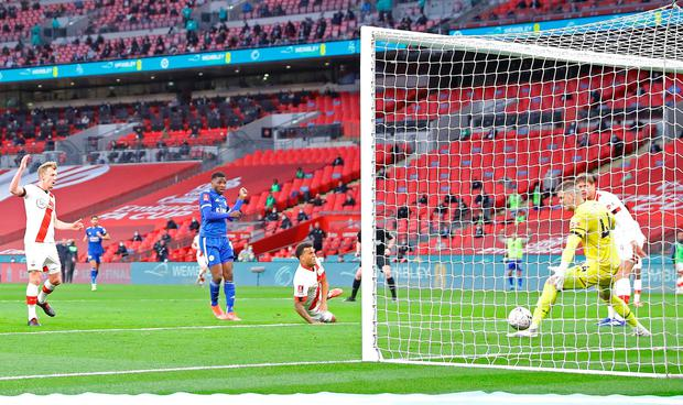 Leicester City's Kelechi Iheanacho scores in their FA Cup semi-final victory over Southampton at Wembley Stadium, sending the Foxes to the FA Cup final for the first time since 1969. Photo: Richard Heathcote/PA
