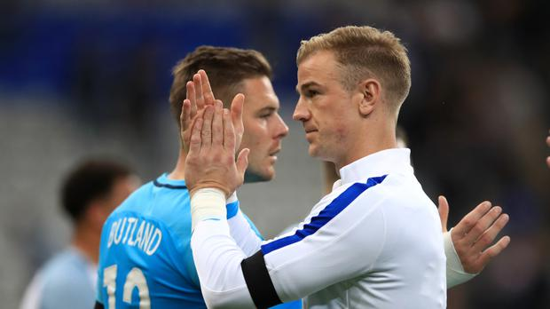 Jack Butland, left, wants to take over from Joe Hart as England number one