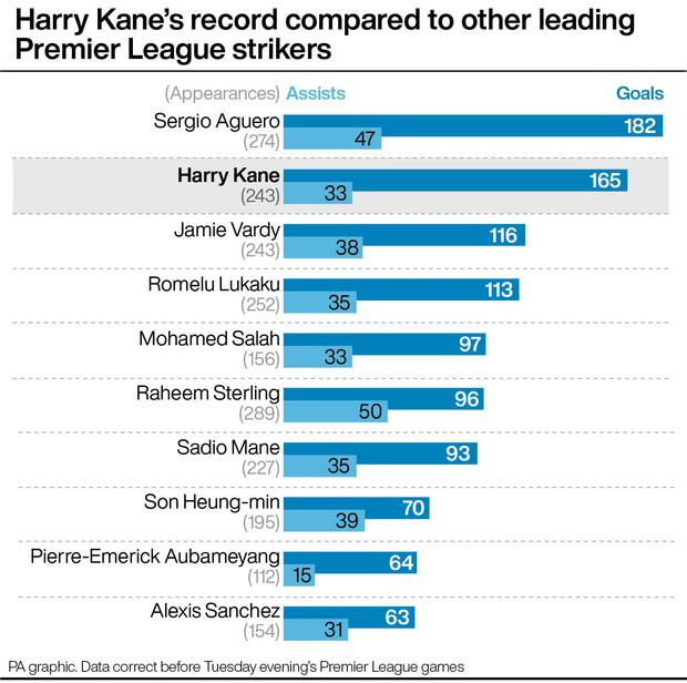 Harry Kane compares impressively with his Premier League peers (PA graphic)