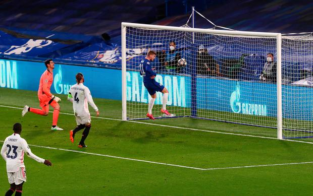 Chelsea's Timo Werner scores his team's first goal against Real Madrid in last night's Champions League semi-final second leg at Stamford Bridge. Photo: Toby Melville/Reuters