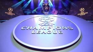 The Champions League Trophy stands on display. Photo credit: VALERY HACHE/AFP via Getty Images