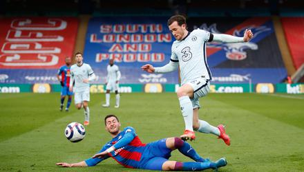 Joel Ward of Crystal Palace tackles Ben Chilwell of Chelsea during their Premier League clash at Selhurst Park last weekend. Photo: Peter Cziborra/Getty