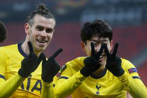 Tottenham's Son Heung-min (right) celebrates with Gareth Bale after scoring his side's first goal during the Europa League win over Wolfsberger AC at the Puskas Arena stadium in Budapest. (Photo: AP Photo/Laszlo Balogh)