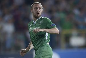 Cosmin Moti of Ludogorets Razgrad in action during the UEFA Champions League Qualifying Play-Offs Round second leg between PFC Ludgorets Razgrad and FC Steaua Bucuresti