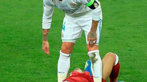 Real Madrd's Sergio Ramos stands over Liverpool's Mohamed Salah after a challenge during the 2018 Champions League Final in Kiev, when Real won the title. Photo: PA Wire