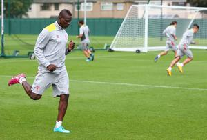 Mario Balotelli of Liverpool in action during a training session ahead of their UEFA Champions League group B match against PFC Ludogorets
