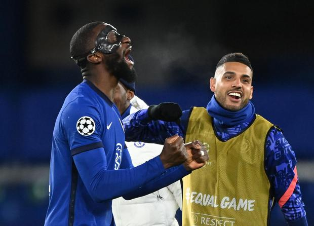 Chelsea's Antonio Rudiger celebrates after his side beat Real Madrid to reach the Champions League final on Wednesday. Photo: Toby Melville/Reuters