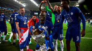 Chelsea's Ngolo Kante with the trophy following his side's UEFA Champions League final win over Manchester City at Estadio do Dragao in Porto, Portugal on Saturday. Photo: Nick Potts/PA Wire