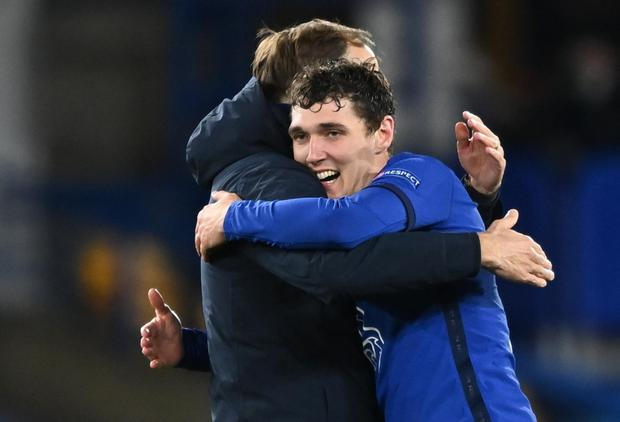 Chelsea manager Thomas Tuchel celebrates with Andreas Christensen after the match REUTERS/Toby Melville