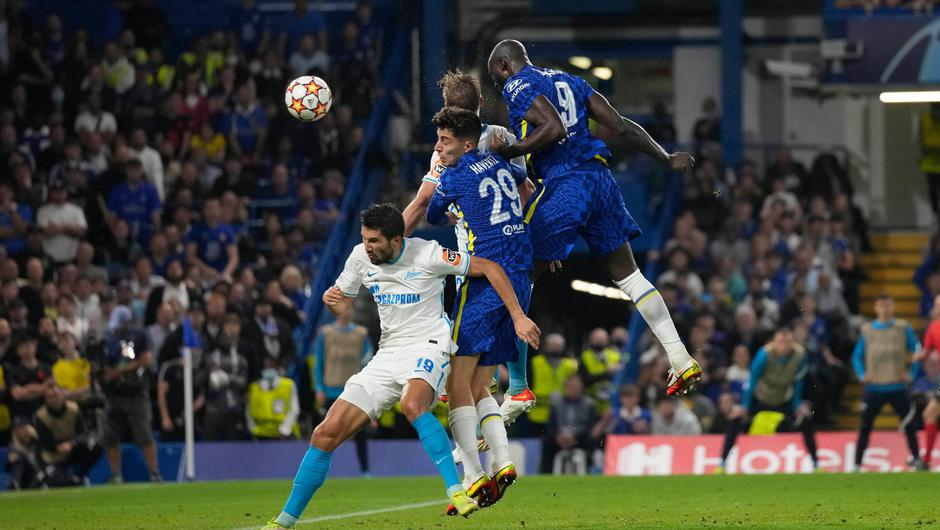 Chelsea's Romelu Lukaku heads the ball to score his side's first goal during the Champions League Group H win over Zenit St Petersburg at Stamford Bridge. Photo: AP Photo/Kirsty Wigglesworth