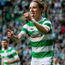 Celtic's Stefan Johansen celebrating after scoring their second goal against St Jarnan in their Champions League face-off