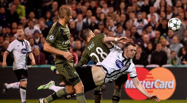 Ciaran Kilduff – seen here during the first leg defeat to Legia Warsaw – has been ruled out of tonight's second leg Picture: Sportsfile