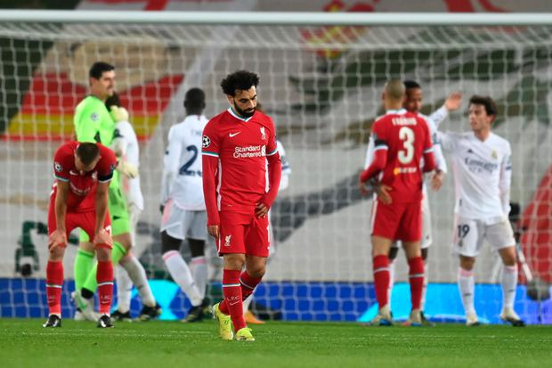 Liverpool's Mohamed Salah looks dejected following the Champions League quarter-final second leg against Real Madrid at Anfield last night. Photo: Michael Regan/Getty
