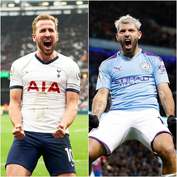 Sergio Aguero, right, provides the most direct comparison to Kane as an out-and-out frontman (John Walton/Martin Rickett/PA)