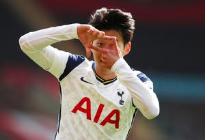 Nice one Son: Tottenham Hotspur's Son Heung-min celebrates scoring their second goal against Southampton