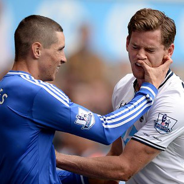 Fernando Torres, left, and Jan Vertonghen, right, repeatedly clashed during the White Hart Lane encounter on September 28