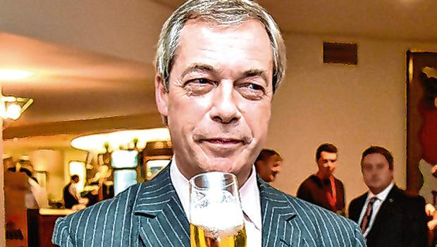 Nigel Farage: Wine bar-style exit. Photo: AFP via Getty Images