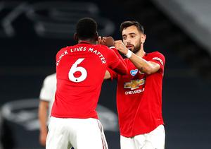 Bruno Fernandes and Paul Pogba started together for the first time on Wednesday, having briefly played together on Friday (Matt Childs/NMC Pool)