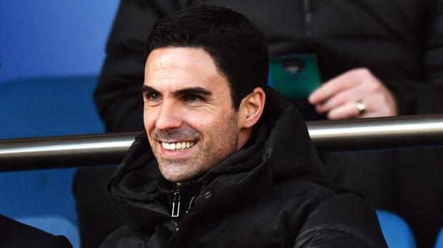 New Arsenal manager Mikel Arteta watched the Gunners from the stands at Everton (Anthony Devlin/PA)