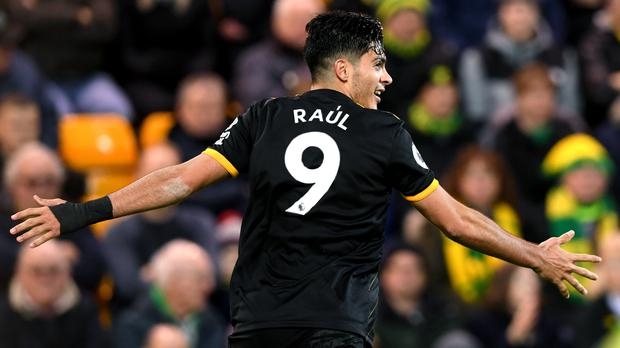 Wolves' Raul Jimenez celebrates scoring the winner over Norwich at Carrow Road (Joe Giddens/PA)
