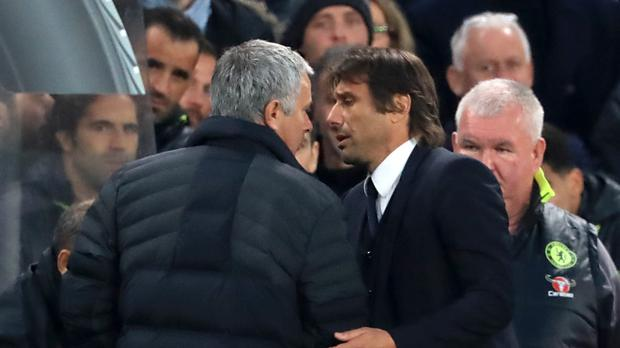 Manchester United manager Jose Mourinho (left) and Chelsea manager Antonio Conte shared some feisty exchanges on the touchline last season
