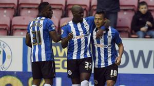 Maynor Figueroa, left, has extended his loan stay at Wigan
