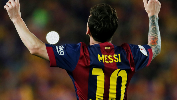 Lionel Messi looks to the heavens after scoring against Athletic Bilbao for Barcelona