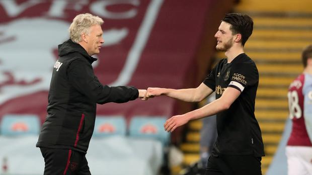 David Moyes (left) is not considering selling Declan Rice (Nick Potts/PA)