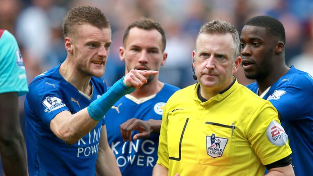 Leicester's Jamie Vardy shows his anger at referee Jonathan Moss