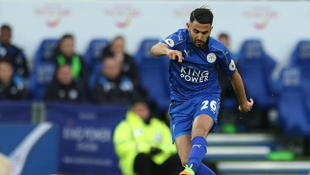 Leicester City's Riyad Mahrez scores his sides second goal during the Premier League match at the King Power Stadium, Leicester.