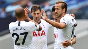 Harry Kane scored twice as Tottenham beat Leicester in a huge game in the race for European football (Richard Heathcote/NMC Pool/PA)