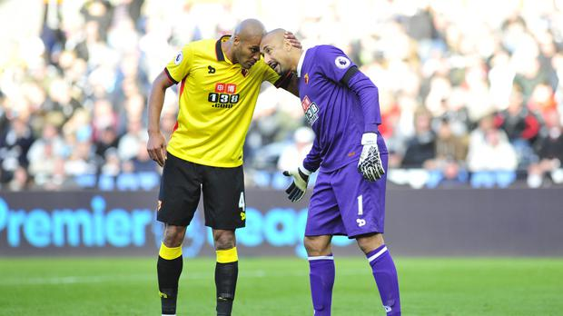 Watford pair Younes Kaboul (left) and Heurelho Gomes (right) were stand-out performers in the Hornets' 0-0 draw at Swansea.