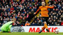 Wolves' Andreas Weimann scores his side's second goal to ensure victory in the cup tie at Anfield