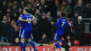 Harry Maguire celebrates his goal for Leicester (Peter Byrne/PA)