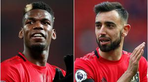 Bruno Fernandes (right) and Paul Pogba (left) have yet to play together in Manchester United's midfield (Martin Rickett/PA)