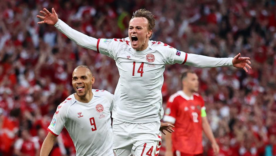 Denmark were roared on by a passionate home crowd in Copenhagen on Monday night. Image credit: PA.
