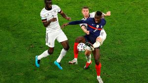 Paul Pogba takes on German duo Robin Gosens and Antonio Ruediger during their Euro 2020 clash in Munich. Photo: Getty