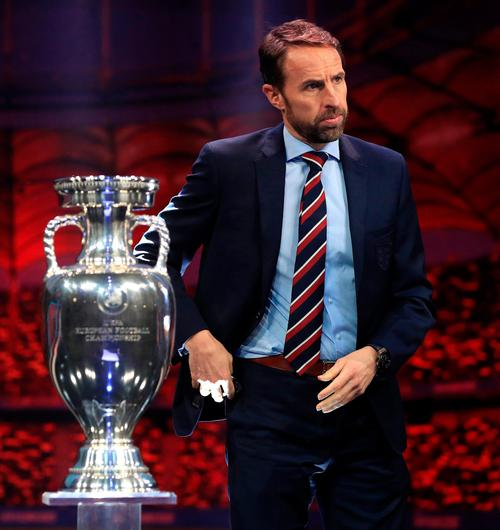 England manager Gareth Southgate and the Euro Championship trophy. Photo: Mike Egerton/PA Wire
