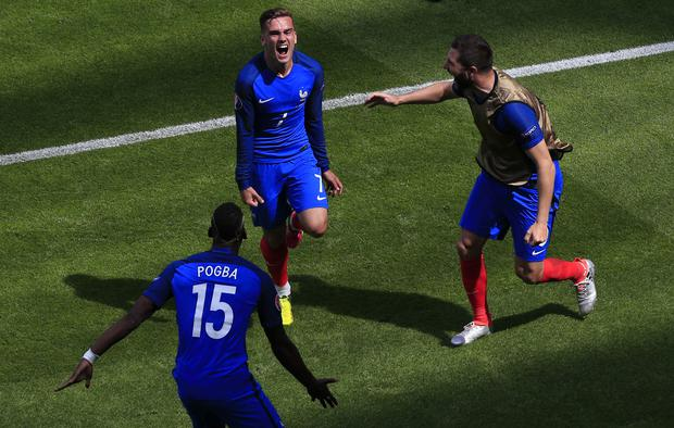 Antoine Griezmann, centre, will look to add to his six European Championship goals (Jonathan Brady/PA)