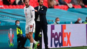 Gareth Southgate congratulates England's Jack Grealish after being substituted during the Euro 2020 Championship Group D match against the Czech Republic at Wembley Stadium.