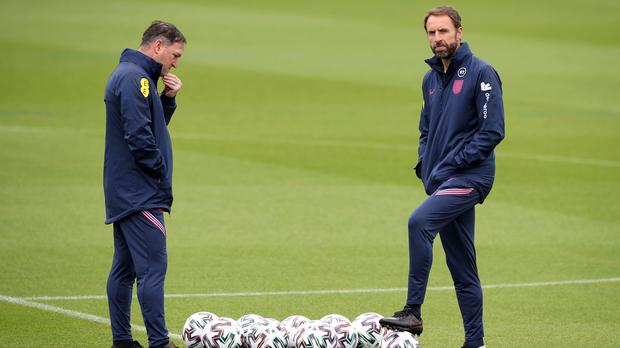 Can England manager Gareth Southgate (right) and assistant Steve Holland plot a course past Germany and into the quarter-finals? (Nick Potts/PA)