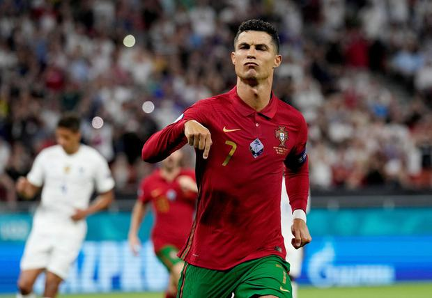 Cristiano Ronaldo surpassed the all-time international goal-scoring record against France. Photo: Reuters