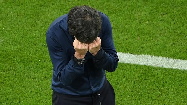 Germany head coach Joachim Loew struggled to contain his emotions during his side's thrilling draw against Hungary (Matthias Hangst/AP Pool )