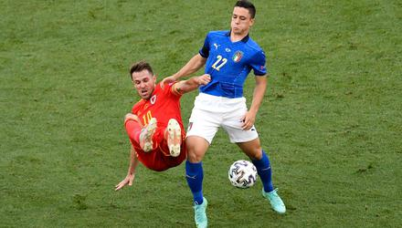 One to watch: Italy's Giacomo Raspadori, right, battles for the ball with Wales' Aaron Ramsey during their Group A match in Rome. Photo: Massimo Insabato/PA Wire