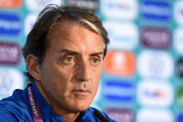 Italy coach Roberto Mancini during the press conference. Photo: UEFA via Reuters
