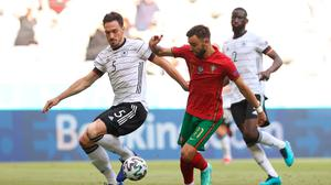 Bruno Fernandes (right) is under pressure to deliver the goods for Portugal against France tonight. Photo: Getty