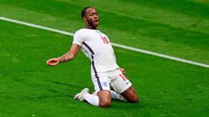 Raheem Sterling celebrates after scoring the only goal of the game against the Czech Republic. Photo: Neil Hall (Getty Images)
