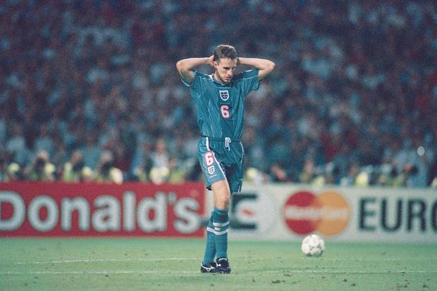 England boss Gareth Southgate is hoping to learn the lessons from his famous penalty shoot-out miss during the 1996 European Championship semi-final against Germany at Wembley. Photo: Stu Forster/Allsport/Getty Images