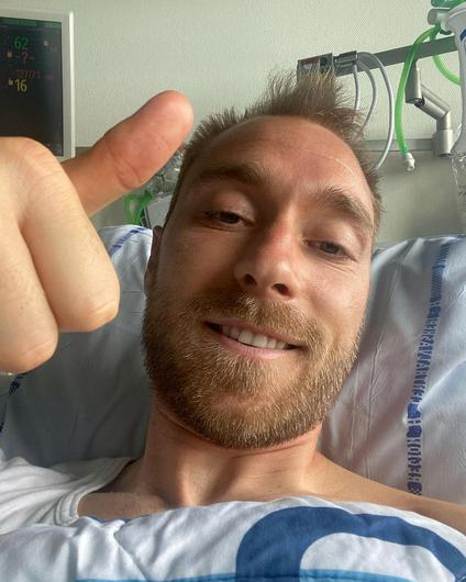 Danish footballer Christian Eriksen gives a thumbs-up at Rigshospitalet, where he was treated after he suffered cardiac arrest during the game against Finland. Photo: Reuters